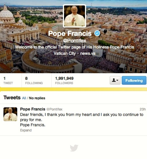 Pope Francis x 26 english tweet