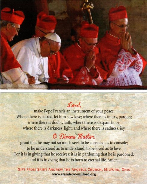 Pope Francis x 28 holy card