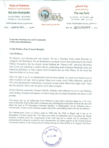 Beit Jala letter to Pope Francis 01