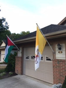 Vatican flag and Palestinian flag 01